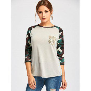 Raglan Sleeve Camo Sequin Pocket Tee - LIGHT GRAY L