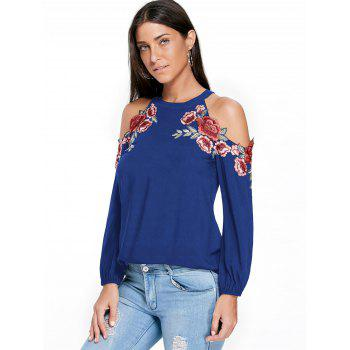Embroidery Applique Cold Shoulder Top - BLUE 2XL
