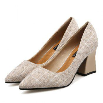 Chunky Heel Point Toe Plaid Pumps - Abricot 35