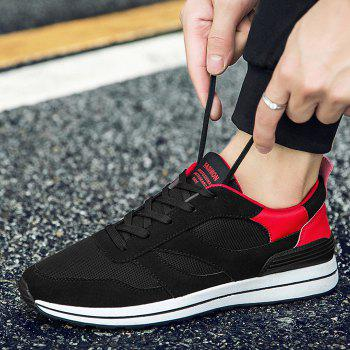 Color Block Low Top Mesh Athletic Shoes - RED 43