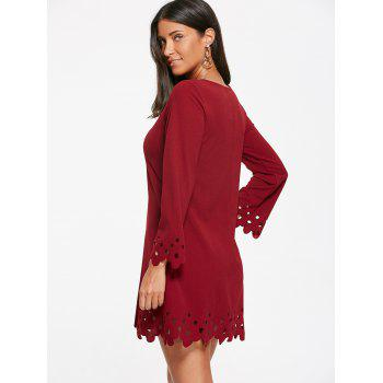 Cut Out Trim Shift Robe manches longues - Rouge vineux S