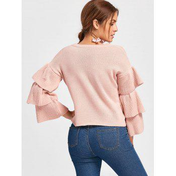 Ruffle Sleeve Crew Neck Sweater - LIGHT APRICOT PINK ONE SIZE