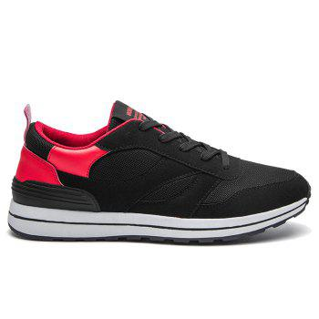 Color Block Low Top Mesh Athletic Shoes - RED 40