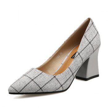 Chunky Heel Point Toe Plaid Pumps - Gris 39