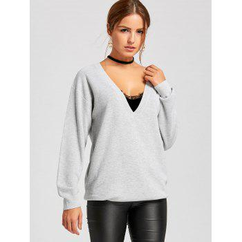 Oversized Plunging Neckline Sweater - GRAY 2XL