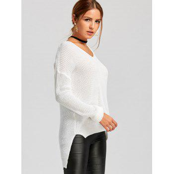 V-neck Knit High Low Sweater - WHITE ONE SIZE