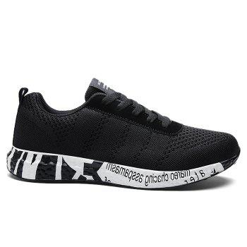 Breathable Mesh Letter Sneakers - BLACK 42