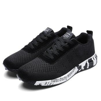 Breathable Mesh Letter Sneakers - BLACK 44
