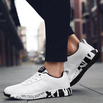 Breathable Mesh Letter Sneakers - WHITE 43