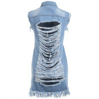 Frayed Distressed Denim Vest