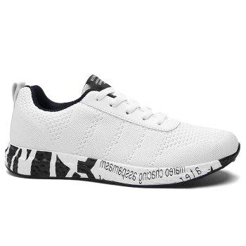 Breathable Mesh Letter Sneakers - WHITE 42