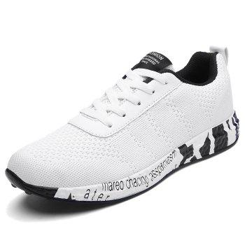 Breathable Mesh Letter Sneakers - WHITE WHITE