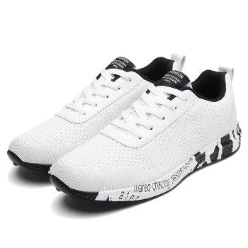 Breathable Mesh Letter Sneakers - WHITE 40