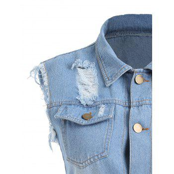 Frayed Distressed Denim Vest - CLOUDY CLOUDY