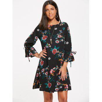 Flower Leaf Print Shift Mini-robe - Noir S