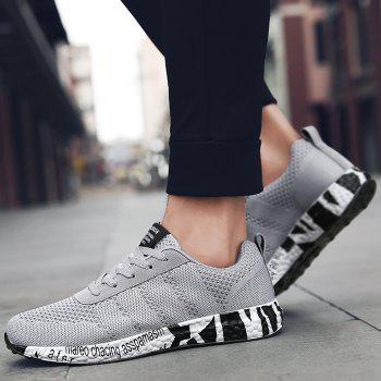 Breathable Mesh Letter Sneakers - GRAY 42