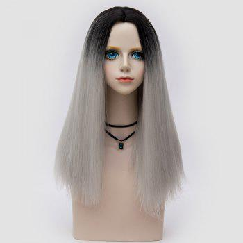 Middle Part Fluffy Ombre Long Straight Synthetic Party Wig - FROST FROST
