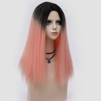 Middle Part Fluffy Ombre Long Straight Synthetic Party Wig - PAPAYA