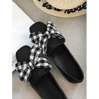 Bowknot Slip On Square Toe Flat Shoes - BLACK 36