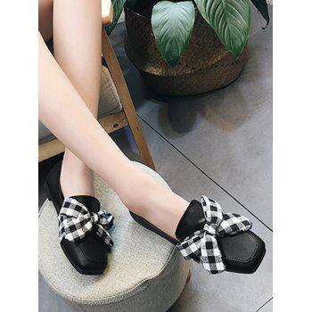 Bowknot Slip On Square Toe Flat Shoes - 37 37