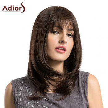 Adiors Long Layered See-Through Fringe Straight Bob Synthetic Wig - BROWN BROWN