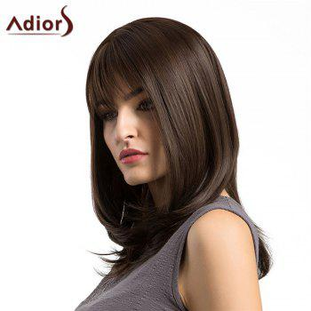 Adiors Long Layered See-Through Fringe Straight Bob Synthetic Wig -  BROWN