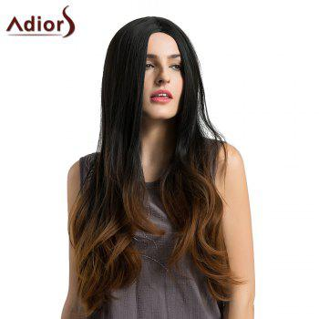Adiors Long Middle Part Slightly Curly Ombre Synthetic Wig -  BLACK/BROWN