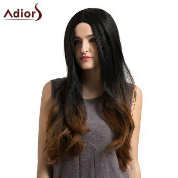 Adiors Long Middle Part Slightly Curly Ombre Synthetic Wig - BLACK AND BROWN BLACK/BROWN