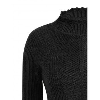 Plus Size High Neck Ribbed Sweater - BLACK 3XL