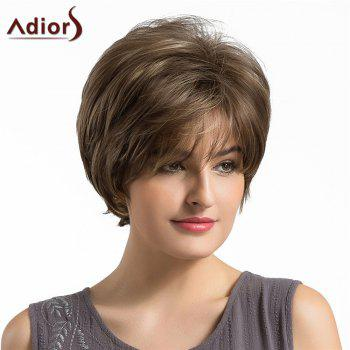 Adiors Short Side Fringe Fluffy Layered Elegant Straight Synthetic Wig - BROWN BROWN