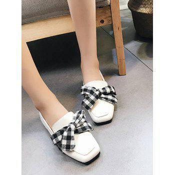 Bowknot Slip On Square Toe Flat Shoes - WHITE WHITE