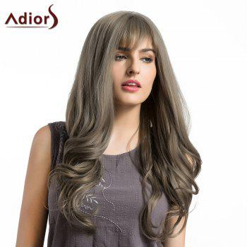 Adiors Long Layered See-Trough Fringe Curly Synthetic Wig - GRAY GRAY