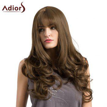 Adiors Long Layered See-Trough Fringe Curly Synthetic Wig - BROWN BROWN