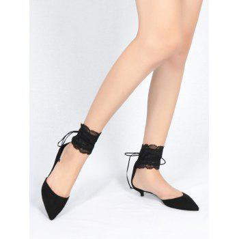 Two Pieces Ankle Strap Pointed Toe Sandals - BLACK 38