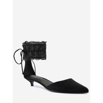 Two Pieces Ankle Strap Pointed Toe Sandals - BLACK 39