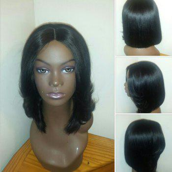 Center Parting Straight Medium Feathered Bob Synthetic Wig - BLACK BLACK