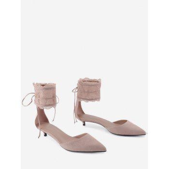 Two Pieces Ankle Strap Pointed Toe Sandals - SHALLOW PINK 39