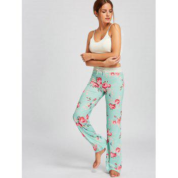 Drawstring Waist Floral PJ Pants - LIGHT GREEN XL