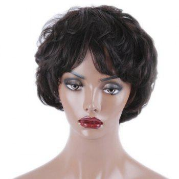 Short Inclined Bang Slightly Curled Synthetic Wig - BLACK BLACK