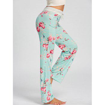 Drawstring Waist Floral PJ Pants - LIGHT GREEN S