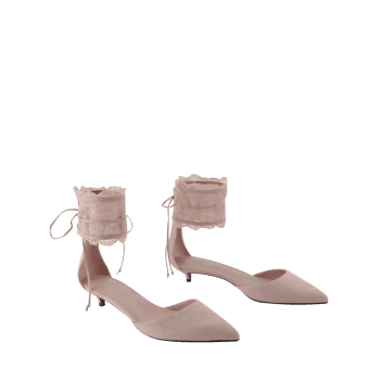 Two Pieces Ankle Strap Pointed Toe Sandals - 38 38