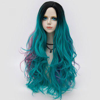 Long Side Parting Fluffy Layered Wavy Ombre Synthetic Party Wig -  GREEN
