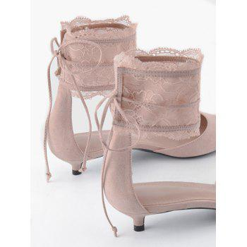 Two Pieces Ankle Strap Pointed Toe Sandals - SHALLOW PINK SHALLOW PINK