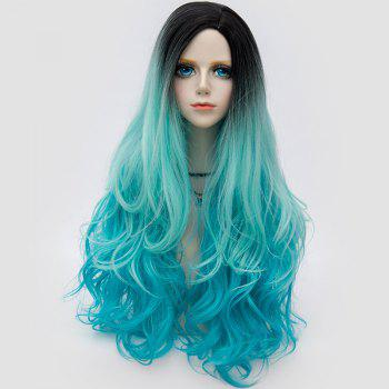 Long Side Parting Fluffy Layered Wavy Ombre Synthetic Party Wig - CLOUDY CLOUDY
