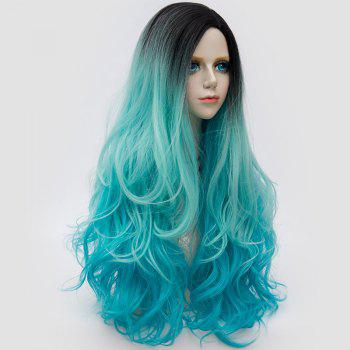Long Side Parting Fluffy Layered Wavy Ombre Synthetic Party Wig - CLOUDY