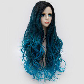 Long Side Parting Fluffy Layered Wavy Ombre Synthetic Party Wig - CERULEAN