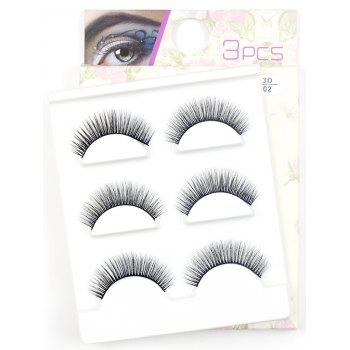 3 Pairs Natural Soft Long Extension Fake Eyelashes - #02