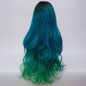 Long Side Parting Fluffy Layered Wavy Ombre Synthetic Party Wig -  BLUE GREEN