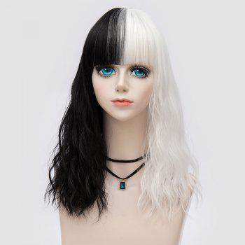 Medium Full Bang Color Block Natural Wave Synthetic Party Wig - WHITE AND BLACK WHITE/BLACK