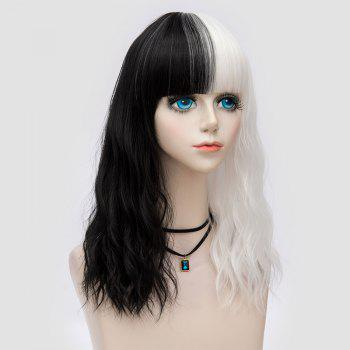 Medium Full Bang Color Block Perruque naturelle Party Wave Synthetic Party - Blanc et Noir